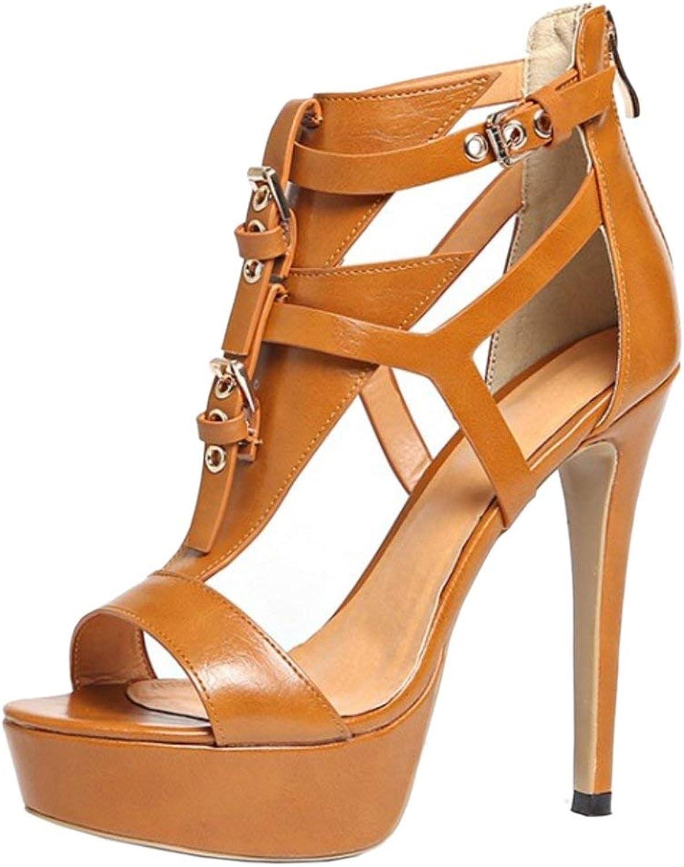 Unm Women Fashion Strappy Platform Ankle Strap Party Stiletto Heel Summer Sandals