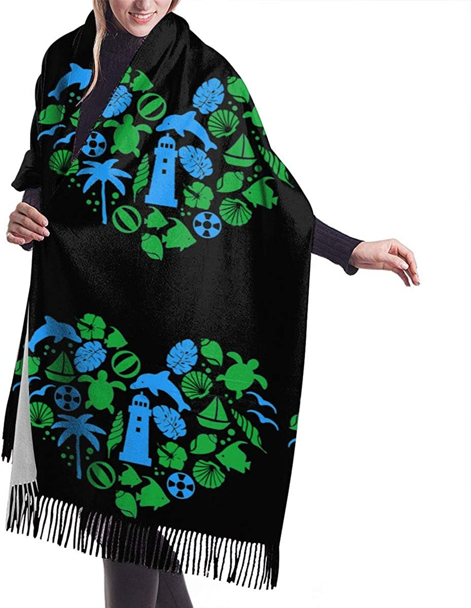 Love Sea Heart Shape Dolphin Winter Scarf Cashmere Scarves Stylish Shawl Wraps Blanket