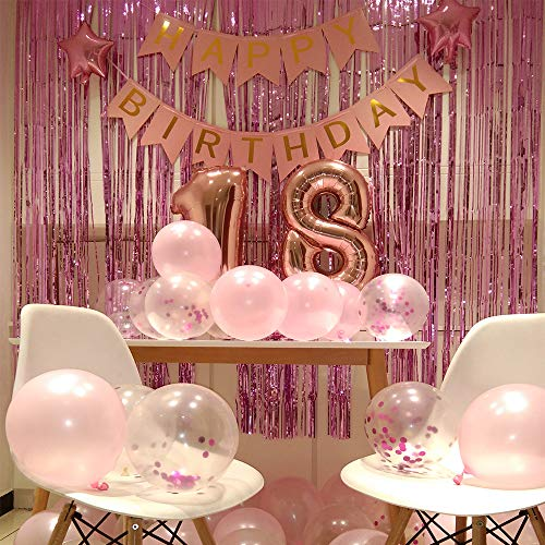 Decorative Balloons for 18 years old Birthday Party With Happy Birthday Banner And Fringe Curtain, etc. Pink Theme Supplies