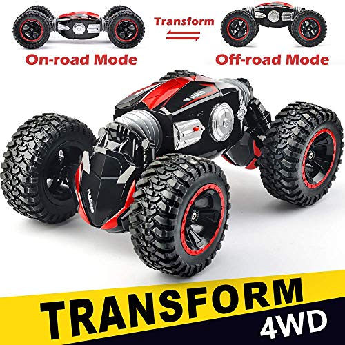 NQD RC Car Off-Road Vehicles Rock Crawler 2.4Ghz Remote Control Car Monster Truck 4WD Dual Motors Electric Racing Car, Kids Toys RTR Rechargeable Buggy Hobby Car (Red)
