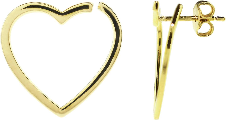 14K Open Heart Earring Jacket - 100% Yellow Gold