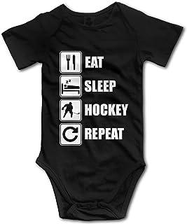 """Nuwcense Baby-Strampler mit Aufschrift """"Eat Sleep Hockey Repeat"""", kurzärmelig"""