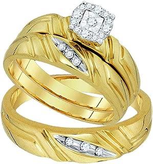 Mia Diamonds 10k Yellow Gold Round Diamond Matching Mens Womens Halo Trio Wedding Bridal Ring Set (.16cttw) (I2-I3)- Available Sizes From - 5 to 11