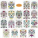 Halloween Tatuajes Temporales de Cara, Etiqueta Temporal,18 Hojas Halloween Mascarada Día de los Muertos Esqueleto cráneo Cara Completa Tatuajes de Maquillaje para Halloween Prop Cosplay