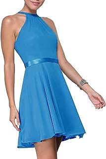Jonlyc A-Line Halter Sleeveless Chiffon Short Homecoming Dress Prom Evening Gowns