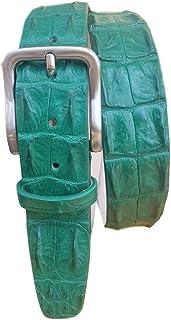 ESPERANTO Cintura coccodrillo schiena uomo e donna 4 cm,fodera vera pelle cuoio nabuk artigianale 4 cm accorciabile- verde...