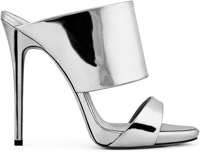 Sandals Open Toe High Heel Stiletto Heel gold Silver PU Women Bride Ladies Girls Party Wedding Sexy shoes,EU38-46,Silver,EU45