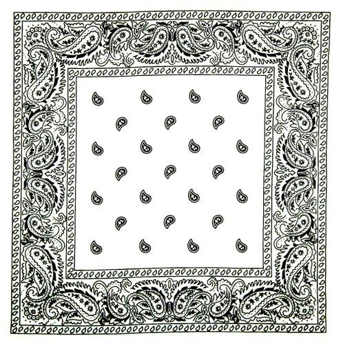 7X - Pañuelo, diseño de chachemira, estilo de motero y cowboy, color blanco