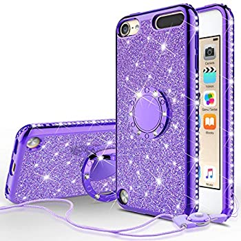 Galaxy Wireless Cases for New iPod Touch 7 Case iPod 6/5 Case Glitter Bling Sparkle Ring Stand Case Compatible for Apple iPod Touch 5/6th/7th/New iPod Touch - Purple