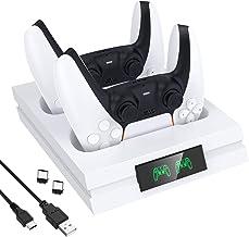 Acessórios PS5, carregador de base de gamepad para PS5, TwiHill, Branco