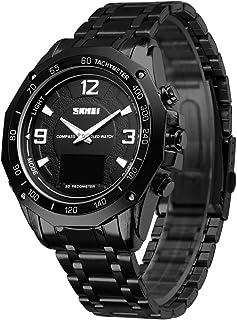 ساعة 1464 للرجال كوارتز ساعة عصرية عادية رياضية للذكور عرض الوقت المنبه ساعة إيقاف 3ATM مقاومة للماء مضيئة حزام من الفولاذ...