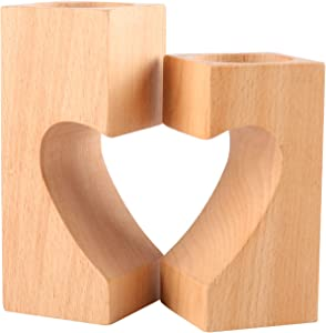 YOYAI Set of 2 Natural Wood Tea Light Candle Holders Heart-Shaped Romantic Cute Decorative Candle Holders Wedding Decor Home Decor(Square)