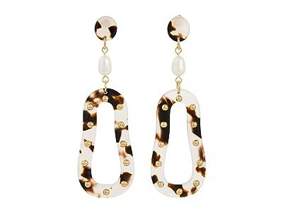 SOLE / SOCIETY Linear Post Earrings (12K Soft Polish Gold/Ivory/FWP/Rose Dusk Tortoise Shell) Earring