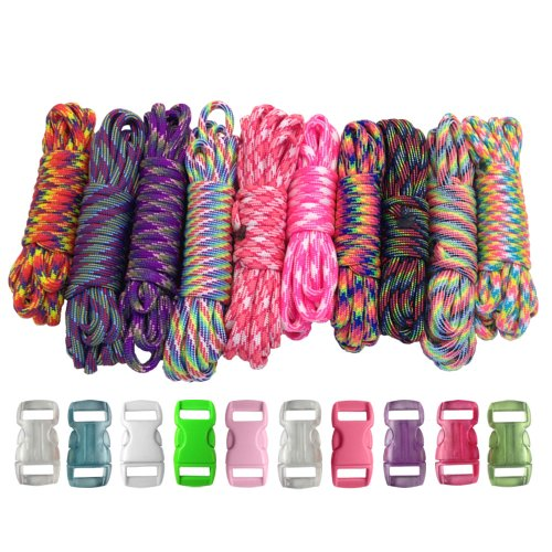 PARACORD PLANET 550lb Type III Paracord Combo Crafting Kits with Buckles for Friendship Bracelets and Craft Beginners Tie Dye