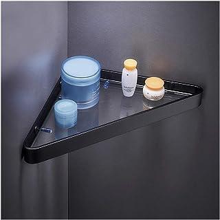 YF-SURINA Étagère de support de douche étagère en verre de salle de bain d'angle à 2 niveaux espace en aluminium étagères ...
