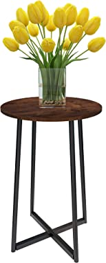 Round End Table Side Table Coffee Table Metal Frame Design Suitable for Living Room Balcony and Bedroom Easy to Assemble (15.