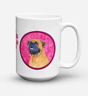 Caroline's Treasures SS4796-PK-CM15 Mastiff Dishwasher Safe Microwavable Ceramic Coffee Mug, 15 oz, Multicolor