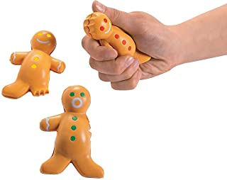 Fun Express - Gingerbread Stress Toy for Christmas - Toys - Balls - Relaxables - Christmas - 12 Pieces
