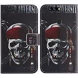 TienJueShi Totenkopf Flip Book-Style Brief Leder Tasche Schutz Hulle Handy Hülle Abdeckung Fall Wallet Cover Etui Skin Fur TP-Link Neffos N1 5.5 inch