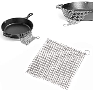 1 PC de hierro fundido, limpiador de anillos para limpiar, limpiador de sartenes de acero inoxidable, cepillo de cadena de acero inoxidable para camping, cocina, sartenes, sartenes o wok y más.