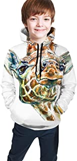 Funny Giraffe Realistic 3D Digital Printed Pullover Tops for Boys Girls 7-20 Years Youth Hoodie Sweatshirt