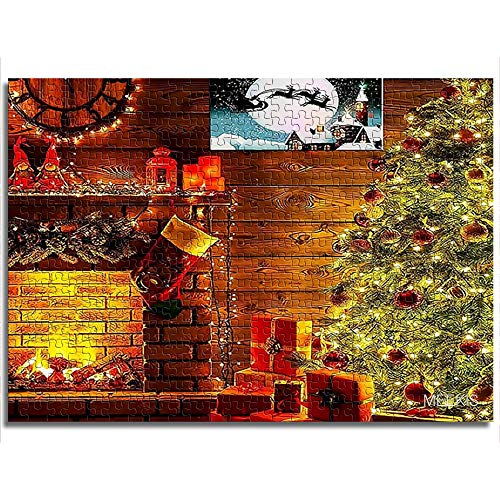 Jigsaw Set 1000 Christmas Tree Furnace Challenge Puzzle Thanksgiving Gift 50x75