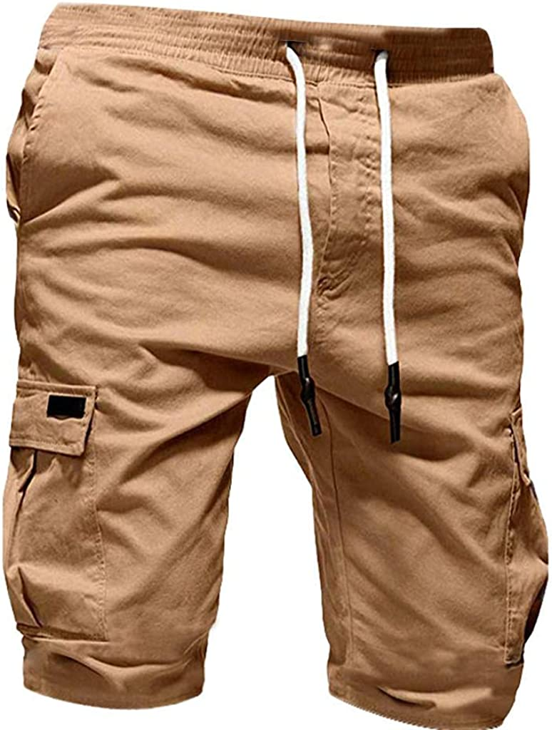 Men's Cargo Cropped Trousers Casual Drawstring Short Pants Hippie Stretch Sport Shorts