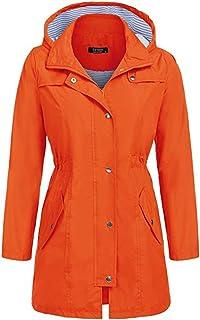 通気性のある Ms. カジュアル 防水 レインコート ウエスト フード付き ロングセクション ジャケット レインコート アウトドア 旅行 レインコート 女性 (色 : オレンジ, サイズ : M)