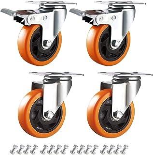 ENYKE 4 Inch zwenkwielen zwenkwielen 360 graden plaat wielen veiligheid dubbele vergrendeling 2000 lbs Set van 4 (schroeve...