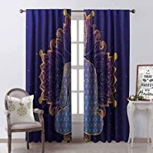 GloriaJohnson Psychedelic Heat Insulation Curtain Asana Asian Philosophy Yoga Pose Peaceful Ritual Body Energy Karma Image for Living Room or Bedroom W52 x L72 Inch Purple Lavender