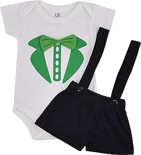 Unique Baby Boys Green Tux Print St Patricks Day Onesie Layette Set