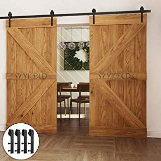 YIGOLD 12-ft Double Door 12FT Sliding Hardware Kit for Barn Carbon Steel-Ultra Smoothly and Quietly Design-Easy Installation-Fit Wide Panel-(J Shape Hanger, DoorBlack), Black