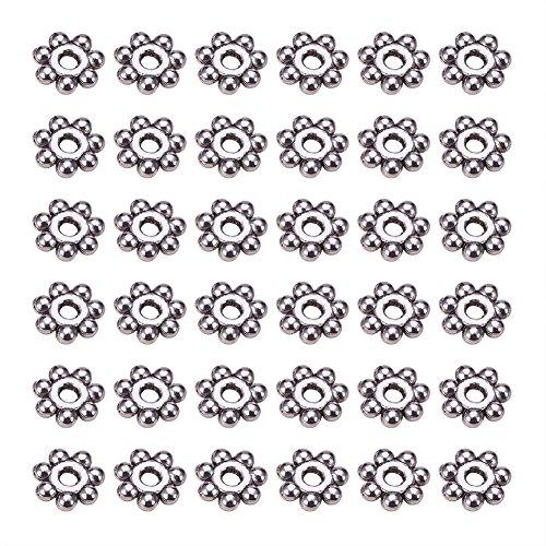 PandaHall 200PCS Perline Distanziatori Perline di Distanziatore Forma Fiocco di Neve, Colore Argento Antico, Circa 4mm di Diametro, 1.5mm di Spessore, Foro: 1mm