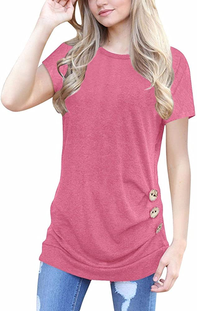 Tops for Women Work Casual,Casual Summer Short Sleeve Crew Neck Loose Button Up Tunic T Shirt Blouse Tops