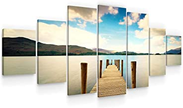 Startonight Huge Canvas Wall Art - Beautiful Bridge On The Beach - USA Large Home Decor - Dual View Surprise Artwork Moder...