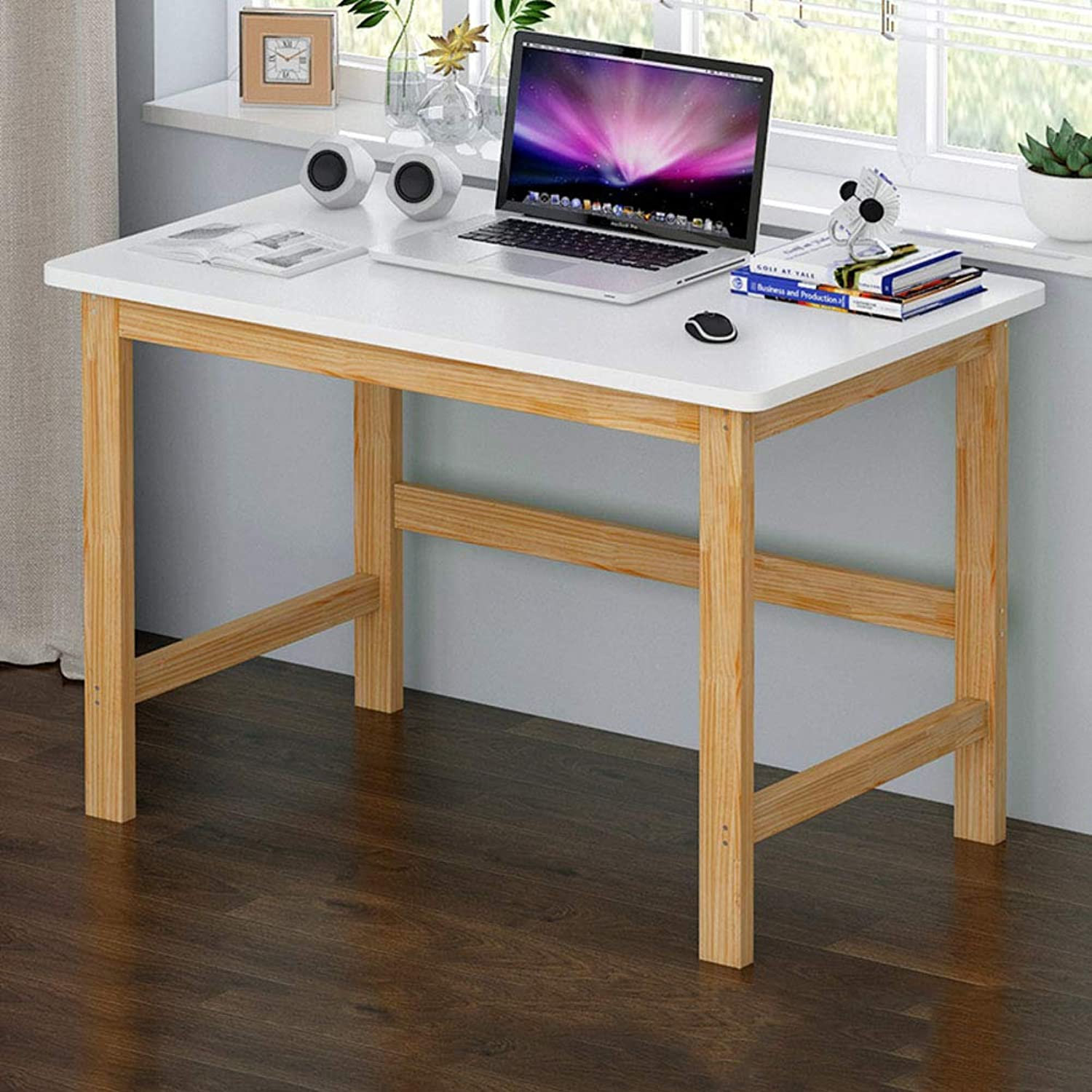 Computer Desk Storage Shelves,Simple Sturdy Office Computer Table,pc Laptop Wood Frame Workstation Easy to Assembly-b 100x60x74cm(39x24x29inch)