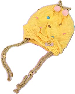 GRAPPLE DEALS Baby Girl's Winter Wear Warm Woollen Cap with Ponytail (Multicolour, Age 1 to 2 Year)