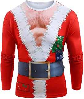 Men's 3D Photo-Realistic Ugly Christmas Holiday Long Sleeve T-Shirt Top Blouse
