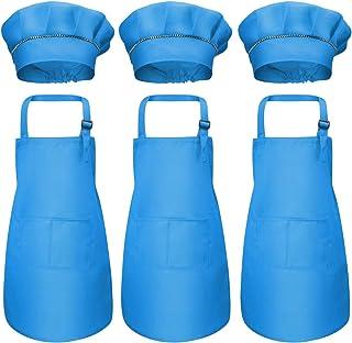 6Pcs Niños Delantal y Gorro de Cocinero, Infantil Delantales de Chef con Bolsillos, Niñas Ajustable Delantal de Cocina Jardín, Delantal de Cocinar para Hornear Pintar Artesanía (7-13 Años) (Azul)