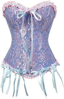 مشد مشد مشد للجسم زهري للنساء مقاس كبير كلاسيكي مثير مشد جوثيك ساتان لانجري فوق الصدر زائد الحجم (اللون: أزرق، الحجم: 6XL)