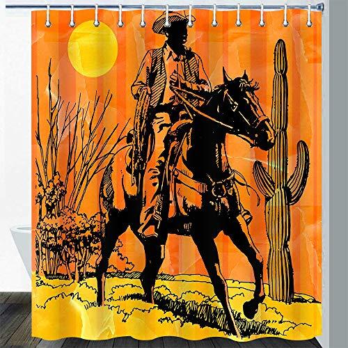 Gdmoon Western Cowboy Shower Curtain Vintage Horse Winchester Tropical Cactus Succulent Desert Wilderness Sunset Natural Landscape Bathroom Curtain Set 72X72In YLLMGD878