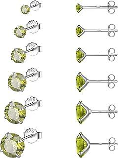 NEWITIN 6 أزواج 925 الفضة الاسترليني أقراط هيبوالرجينيك مكعب زركونيا ثقب مسمار أقراط للنساء والرجال