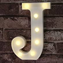 Pooqla LED Marquee Letter Lights Alphabet Light Up Sign for Wedding Home Party Bar Decoration J