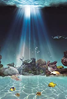 GooEoo 5×7フィートビニール写真の背景海中世界サンシャインバブル魚サンゴ礁背景水族館デザイン写真パーソナルアート肖像画ビデオスタジオの小道具1.5×2.2メートル