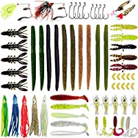 Gimland Soft Fishing Lures Kit for Bass, Baits Tackle Including Trout, Salmon, Spoon Lures, Soft Plastic Worms, CrankBait, Jigs, Fishing Lure Set with Free Tackle Box (64 pcs)