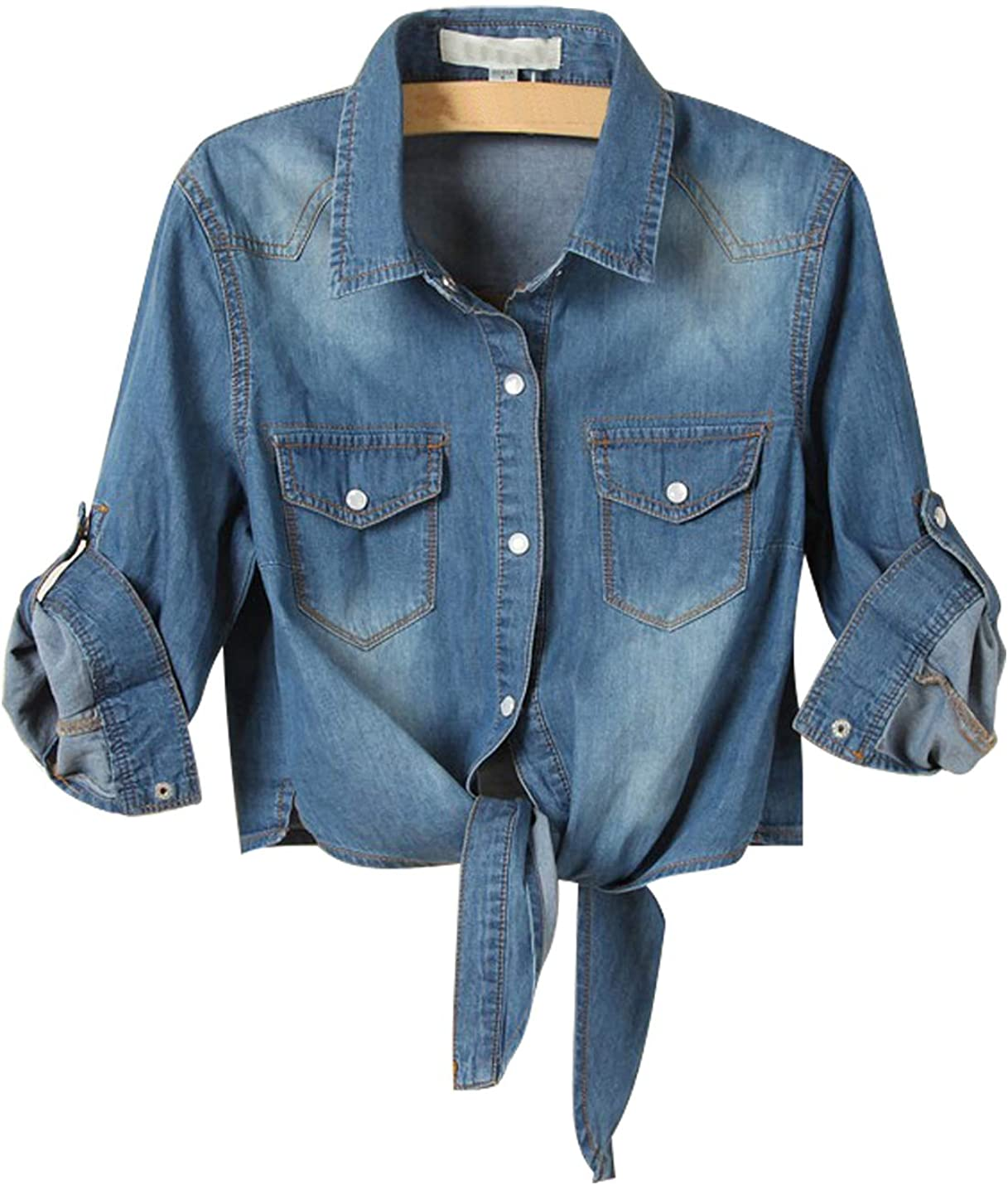 AMEBELLE Denim Shirts for Women 3/4 Roll Up Sleeve Tie Knot Front Chambray Jean Crop Top