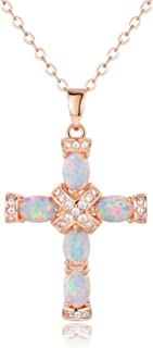 Barzel Rose Gold & White Gold Plated Created Opal Cross Chain with Pendant