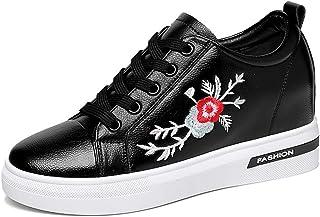 女性のスニーカー春新しいデッキシューズ pu プラットフォームの靴刺繍フラットシューズ目に見えない増加 PU プラットフォームの靴,Black,38
