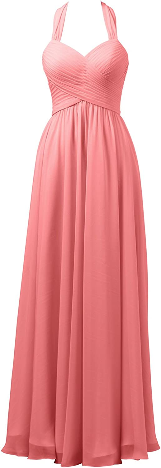 Alicepub Halter Bridesmaid Dress for Wedding Long Formal Evening Prom Gown Maxi