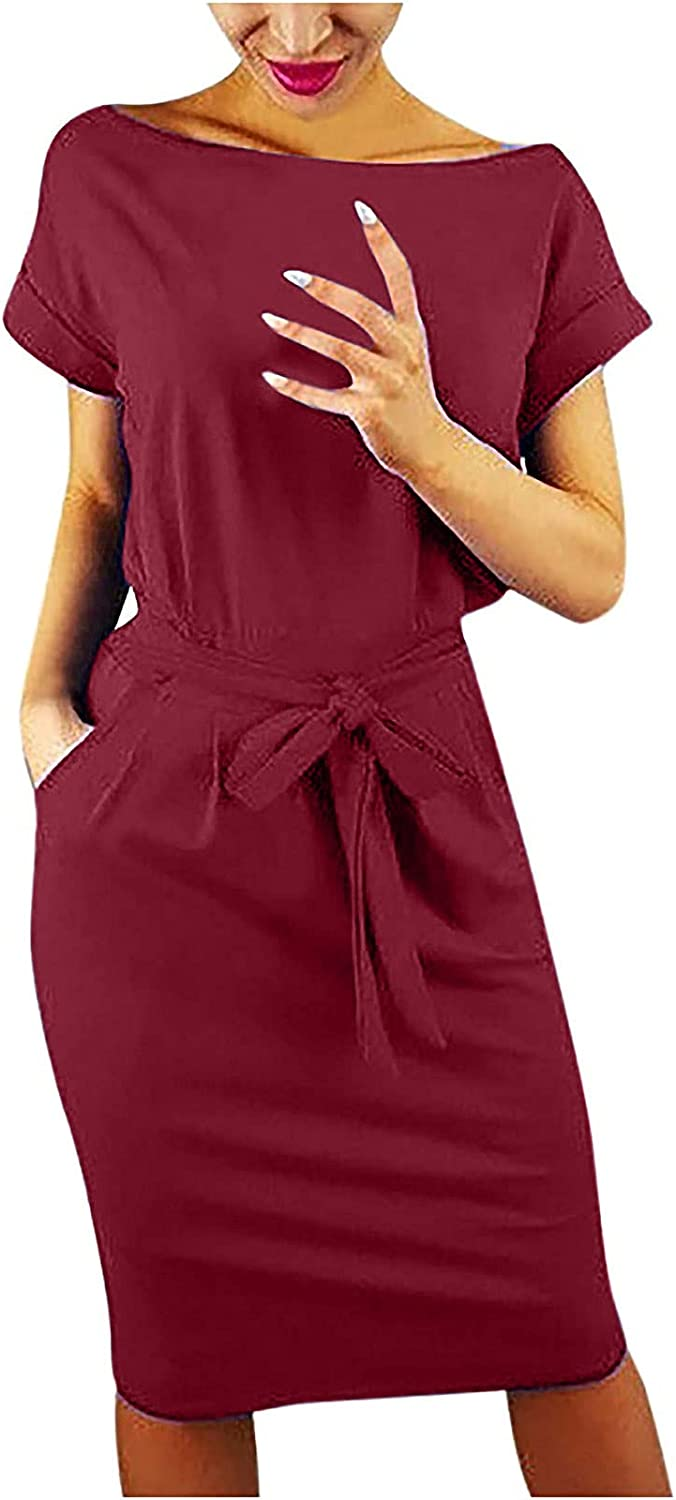 GOODTRADE8 Autumn Skirt Women's Striped Elegant Short Sleeve Wear to Work Casual Pencil Dress with Belt Cocktail Dresses